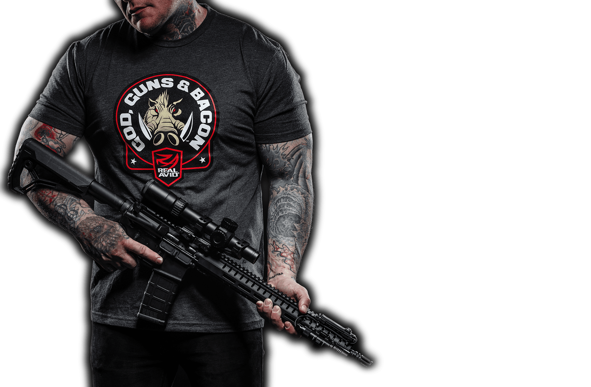 Man wearing God Guns and Bacon T-Shirt Holding AR15